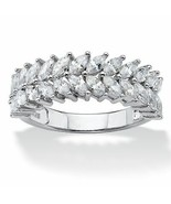 2.60 TCW Marquise-Cut Cubic Zirconia Platinum over Sterling Silver Leaf ... - $35.94