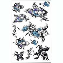 Set of 3 Fashion Cool Skull&Pegasus Body Tattoo Stickers Sweat Temporary Tattoos
