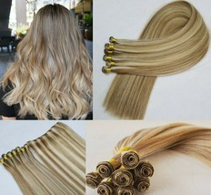 20″ Hand-Tied Weft Hair, 100 grams,100% Human Remy Hair Extensions # 18/613 - $217.79