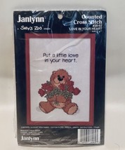 Janlynn Love In Your Heart Bear Holding Roses Counted Cross Stitch 38-62 1987 - $12.74