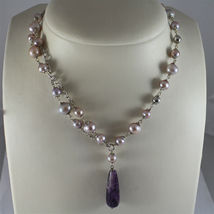 .925 RHODIUM SILVER NECKLACE, PURPLE AND ROSE PEARLS, AMETHYST PENDANT. image 4