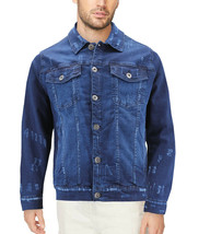 Men's Classic Distressed Casual Button Up Stretch Jean Trucker Denim Jacket image 2