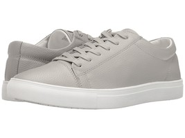 NEW $100 STEVE MADDEN LT GRAY TUMBLED LEATHER BOUNDED LACE UP SNEAKERS s... - $29.69