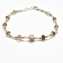 Silver Bracelet 925 Laminated in Rose Gold with Quartz Smoky and Zircon Cubic image 3