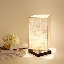 Bedside Desk Lamp Square Linen Look Shade Woode... - $34.64