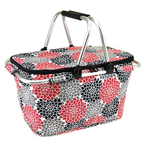 Flower Print Metal Frame Insulated Market Tote