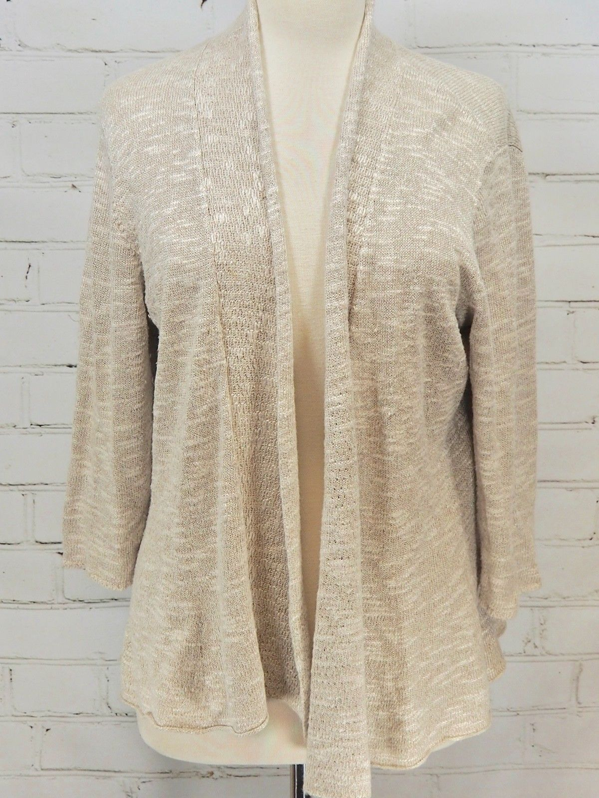 382363b5198 57. 57. Previous. Eileen Fisher Open Wrap Sweater Linen Blend 3 4 Sleeve  Layering Size Large Ivory