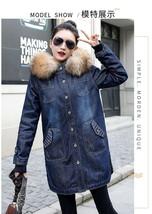 European Ladies Winter Jeans Jacket Hooded big fur collar Denim jacket f... - $80.23