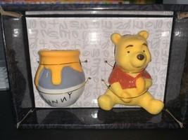 Disney Winnie The Pooh & Honey Hunny Pot Ceramic Salt & Pepper Shaker Set NWT   - $23.75