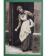 WINTER FUN Young Lady Throwing Snowballs Revenge  - 1890s Litho Antique ... - $17.96