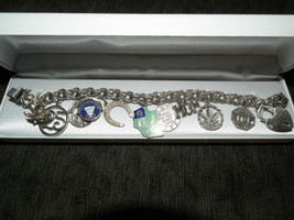 VINTAGE STERLING SILVER CHARM BRACELET 11 CHARMS MOM TORONTO HEART 38 GRAMS - $59.21