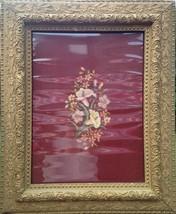 Antique Vintage Large Framed Floral Needlepoint Art circa 1940s 1950s - $395.99
