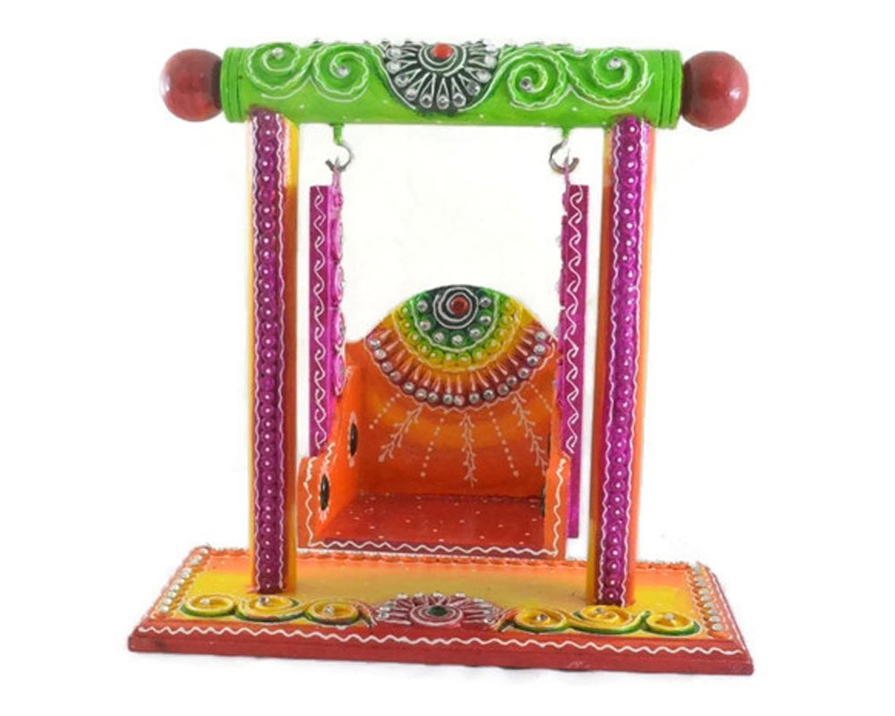 Wooden Handmade Hand painted Jhula Decorative Artistic