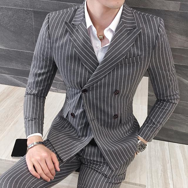 Men Striped Double Breasted 3 Piece Suits White Club Outfits Slim Fit