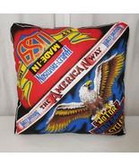 Vintage HD Harley Davidson Eagle Pillow 19x19  80s American Way Flag USA... - $69.25