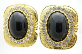Large Runway Haute Couture Clear Rhinestone Plastic Cabochon Clip Earrin... - $39.59