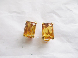 Joan Rivers Citrine Crystal Clip On Earrings. Retired QVC  - $13.00