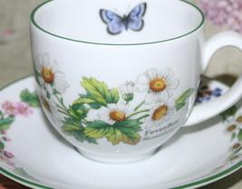 Royal Worcester England Teacup and Saucer Herbs Thyme Feverfew Blue Butt... - $36.58