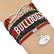 BULLDOGS Handmade Infinity Love NCAA Sports Team Bracelet Red Black  - $5.00
