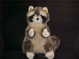 """12"""" Steiff Raccoon Plush Toy With Button and Flag Number 071201 - $93.49"""