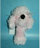 """Stephan Baby Pink POODLE DOG RATTLE 6"""" Soft Toy Stuffed Rose Bow Black N... - $14.48"""