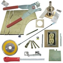 Tile Glass Cutter Kit 13pc Rd LH Jigsaws Rodsaw Grinder Drill File 1 3/8 Holesaw - $101.92