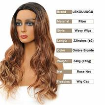 LEKOUUUGU 22 Inches Ombre Brown Wigs for Women Middle Part Long Wavy Wigs for Wo image 4