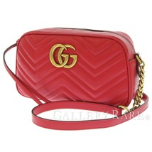 GUCCI Chain Shoulder Bag Small Leather Red GG Marmont 447632 Italy Authe... - $1,167.48