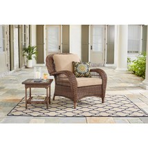 Outdoor Lounge Chair with Toffee Cushions Wicker Stylish Elegant Home Fu... - $198.89