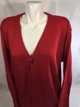 Dockers Woken Red Blouse Long Sleeve Scoop Neck  Button Up Soft Warm   S... - $16.82
