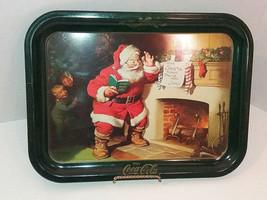 Vintage Coca Cola Vintage Metal Tray Santa Claus 1973 14 x 10.5 Inches - $9.64