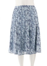 Dennis Basso Snake Print Woven Skirt Side Zip Navy Combo 8 NEW A262917 - $37.60