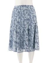 Dennis Basso Snake Print Woven Skirt Side Zip Navy Combo 8 NEW A262917 - $50.59 CAD