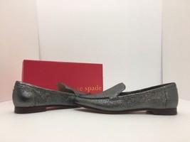 Kate Spade Carima Gray Crinkled Metallic Leather Women's Flats Loafers S... - $101.28