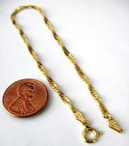 Italian Bracelet Sterling Silver 14kt Gold Vermeil Twisted Diamond Cut Chain 198 - $40.00