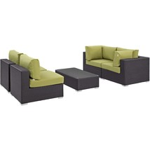 Convene 5 Piece Outdoor Patio Sectional Set Espresso Peridot EEI-2163-EX... - $1,712.00