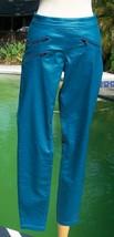 HUE $66 New Glossy Zipper Planet Aqua Turq Legging Stretch S 4/6 U15571 Pant NWT - $26.40