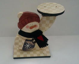 country decor  painted wooden snowman small round plant pot holder drink... - $34.65