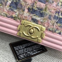 100% AUTH CHANEL Pink Tweed Leather Limited Edition Medium Boy Flap Bag GHW image 5