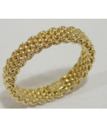 Tiffany &Co Somerset 18K Yellow Gold Mesh Narrow Curved Band Ring Sz5.5 ... - $545.63