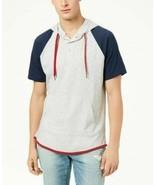 Mens Colorblocked Short Sleeve Hoodie American Rag Blue Gray Red NWT Siz... - $19.75
