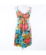 Turquoise blue pink floral print 100% silk ANTHROPOLOGIE BETH BOWLEY sun... - $24.99