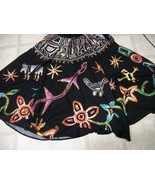 Boho Gypsy Ethnic Me Jane 2 Side Wrap Sequin Black Skirt Sz M/L Bali Cotton - $23.75