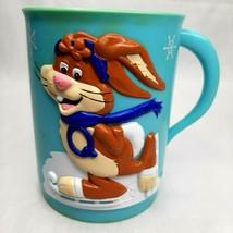 Vintage Original Nestle Quik Ice 3D Skating Bunny Blue Mugs Set 2 Plasti... - $13.85