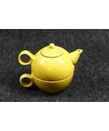 Old Amsterdam Porcelain Yellow Teapot/Cup for One Stackable 1701 Vintage  - $19.79