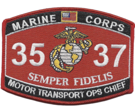 """4.5"""" MARINE CORPS MOS 3537 MOTOR TRANSPORT OPS CHIEF EMBROIDERED PATCH - $16.24"""