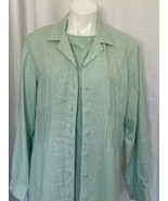 Coldwater Creek 2 Piece Linen Dress With Overcoat Celery Green Work Ready - $30.69