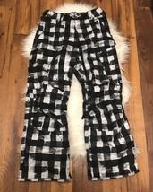 Burton Dry Ride Ski Pants Women Black Poly Lined Zipper Worn Once White ... - $60.75