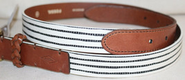 "Fossil Womens Size Medium White Black Stripe With Tan 1"" Belt NEW - $10.36"
