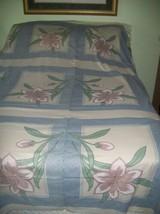 Vtg Fabric Panel Blue Cream XL Flowers Sewn Cheater Quilt Pillow Tops - $10.88